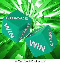 机会, 取得胜利, 失去, 骰子, 背景, 显示, 赌博, 失败者