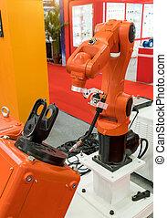 机器人的手臂, 為, 銲接, 在, 工廠