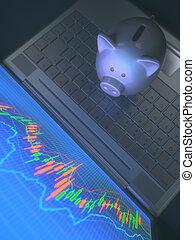 机器人, 从事贸易, 系统, 同时,, 猪一般的银行
