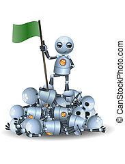 机器人, 握住, 堆, 顶端, 很少, 其它, 机器人, 旗