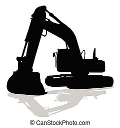 机器, 侧面影象, 工作, 黑色, 挖掘者