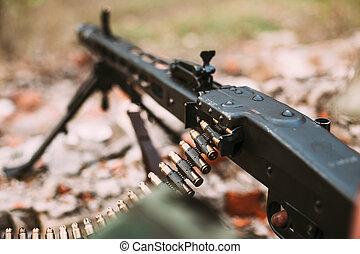机器, 德语, trench., -, 枪, ii, 军方, 世界, 弹药, 战争, 地面