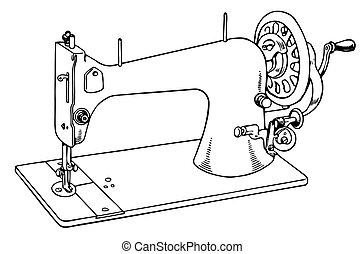 机器, 缝, 老
