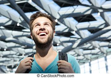 机场, 微笑, 走, 人