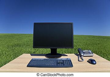 机, そして, コンピュータ, 中に, 緑のフィールド
