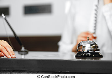机, ホテル, サービスカウンター, 前部, 鐘