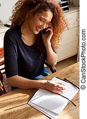 机, モデル, 電話, 話し, 本, 学生, 執筆, モビール, 女性