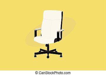 机, 旋回装置, 白, 革, chair.