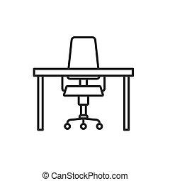 机 椅子, -, アイコン, ベクトル, オフィス, イラスト, 旋回装置