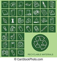 材料, アイコン, 再生利用できる