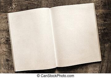 材木, ページ, 本, 背景, ブランク, 開いた, グランジ