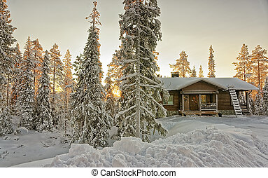 村舍, 在, 多雪, 冬天, 森林, 在, 傍晚
