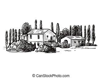 村莊, 畫, 房子, 黑色, 略述, farmland., 手, 背景