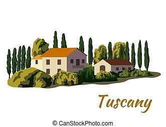 村莊, 白色, 顏色, 房子, farmland., 插圖
