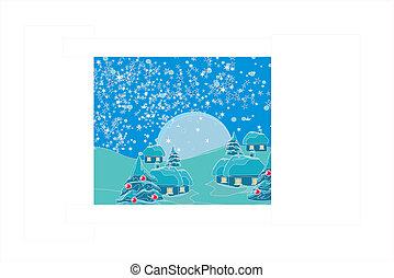 村, クリスマスカード, 夜
