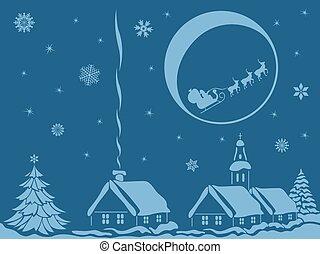 村, クリスマス, 夜