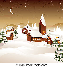 村, ベクトル, クリスマス, 夜