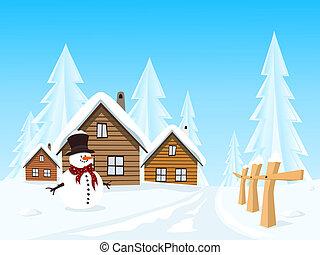 村, ベクトル, 冬の景色, 絵のよう