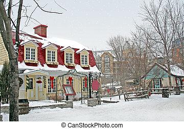 村, 下に, 雪が多い, 冬, sky.