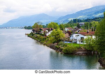 村, 海岸, 湖, チューリッヒ