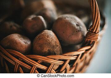 村, garden., 枝編み細工のバスケット, 収穫, 塊茎, potatoes.
