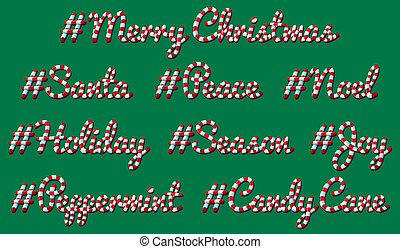 杖, クリスマス, キャンデー, hashtag