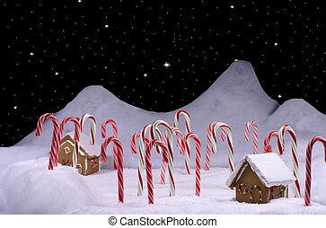 杖, 星が多い空, キャンデー, 森林, クリスマス