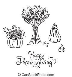 束, いたずら書き, freehand, カボチャ, 感謝祭, 型, 小麦