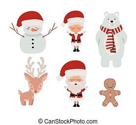 束, クリスマス, セット, アイコン