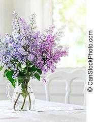 束, テーブル, 花, ライラック, つぼ