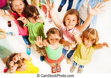 束, 孩子, 舉起, 手, 在空中