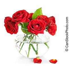 束, 紅色 玫瑰, 在, 玻璃瓶