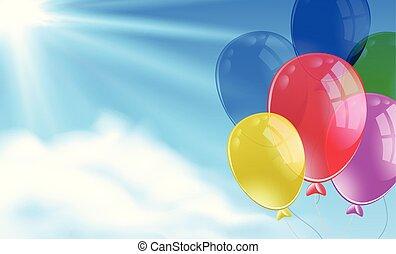 束, ballons, 空, 現場