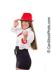 来なさい, 呼出し, かなり, あなた, 帽子, 女の子, 赤