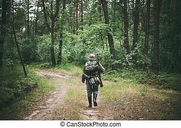 来路不明, 3月, 德语, 穿着, 森林, 士兵, 在期间, reenactors