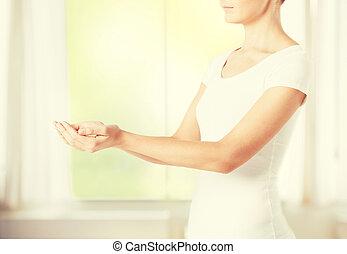 杯形, womans, 手