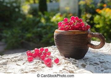 杯, 无核小葡萄干, 新鲜, 桌子, 红