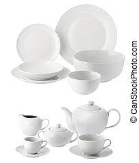 杯, 盘子, 陶瓷