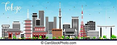 東京, スカイライン, ∥で∥, 灰色, 建物, と青, sky.
