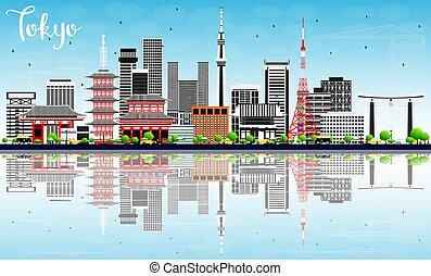 東京, スカイライン, ∥で∥, 灰色, 建物, 青い空, そして, reflections.