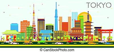 東京, スカイライン, ∥で∥, 色, 建物, と青, sky.