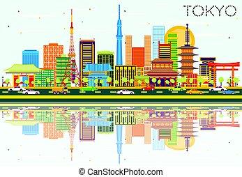 東京, スカイライン, ∥で∥, 色, 建物, 青い空, そして, reflections.