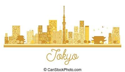 東京, 都市 スカイライン, 金, silhouette.