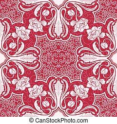 東方, 主題, 黑色半面畫像, 花, painting., seamless, 背景, 交織, pattern., ...