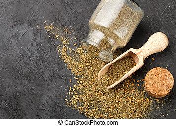 東洋人, 暗い, -, 精選する, 乾かされた, zaatar, 石, フォーカス, 混ぜられた, spices., sumac, 他, スパイス, 調味料, 塩, バックグラウンド。, 混合, ハーブ, 作られた, ゴマ種