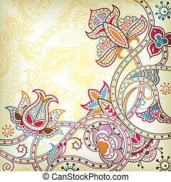 東洋人, 花, 背景