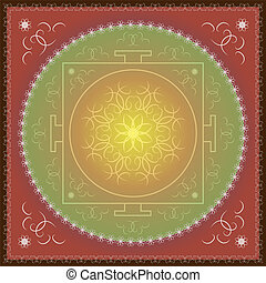 東洋人, mandala., indian, 装飾
