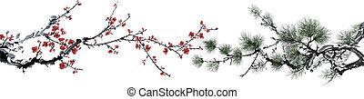 松の木, そして, 花