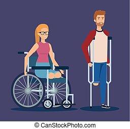 松葉ずえ, 車椅子, 女, 人間が座る