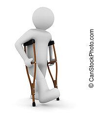 松葉杖をついてやれやれ, 白, バックグラウンド。, 隔離された, 3d, イメージ